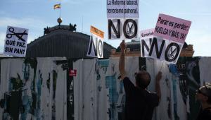 Protesty przeciw cięciom budżetow w Hiszpanii