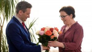 Ewa Kopacz i Robert Biedroń podczas spotkania w Urzędzie Wojewódzkim w Słupsku