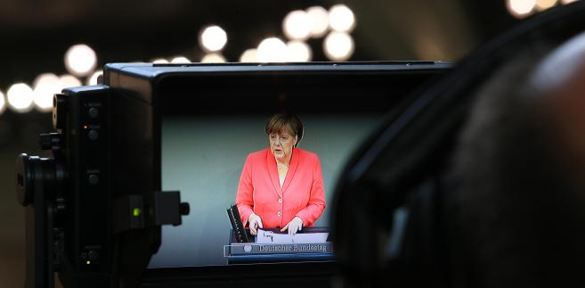 Angela Merkel podczas przemówienia w Bundestagu. 17.07.2015, Berlin.