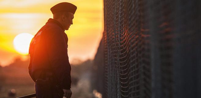 Węgierski policjant na granicy serbsko-węgierskiej. 16.09.2015