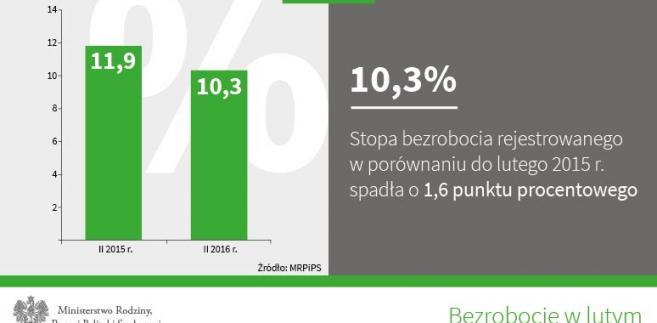 Bezrobocie w lutym, źródło: MPiPS