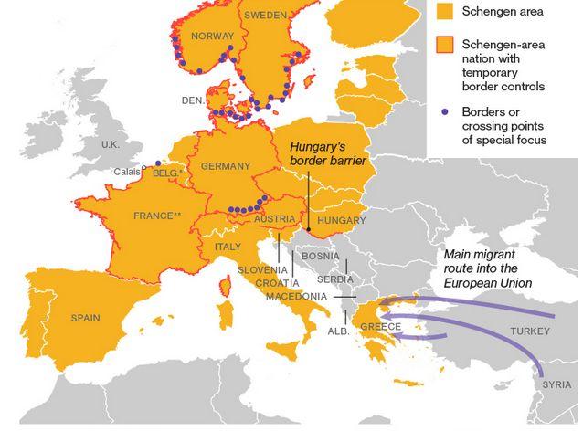 Szlaki migracji z Bliskiego Wschodu. Na pomarańczowo zaznaczono państwa członkowskie strefy Schengen. Czerwony kontur wokół państwa oznacza, że dany kraj wprowadził czasowe kotrole graniczne. Niebieskimi punktami oznaczono te przejścia graniczne, które są poddane specjalnemu nadzorowi.