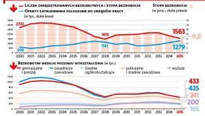 Liczba zarejestrowanych berobotnych w latach 2000-2015