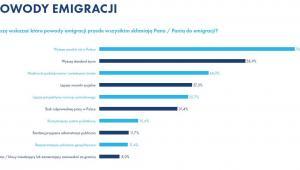 """Powody emigracji. Źródło: Raport Work Service """"Migracje zarobkowe Polaków""""."""