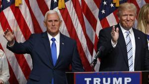 Gubernator Indiany Mike Pence i Donald Trump w Nowym Jorku.