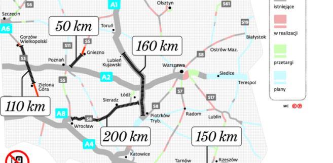 Odcinki dróg szybkiego ruchu bez stacji benzynowych