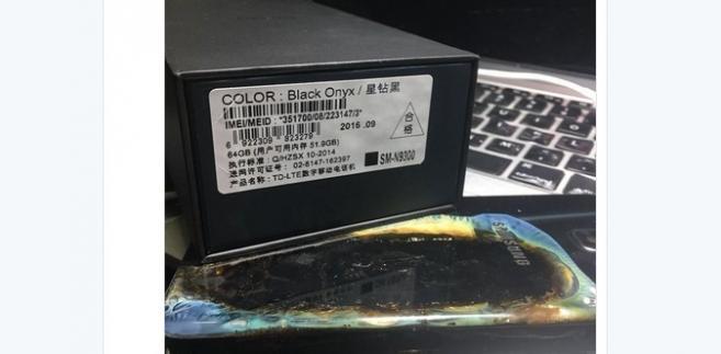 Uszkodzony Sasung Galaxy Note 7, źródło: Twitter