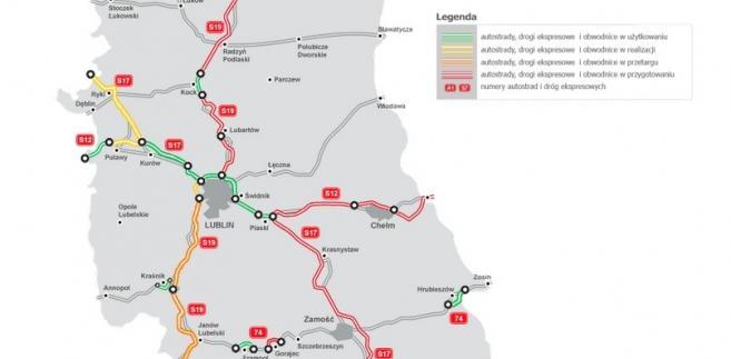Mapa Stanu Budowy Dróg - lubelskie, źródło: GDDKiA