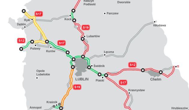 Stan budowy drog w woj. lubelskim. Źródło: GDDKiA