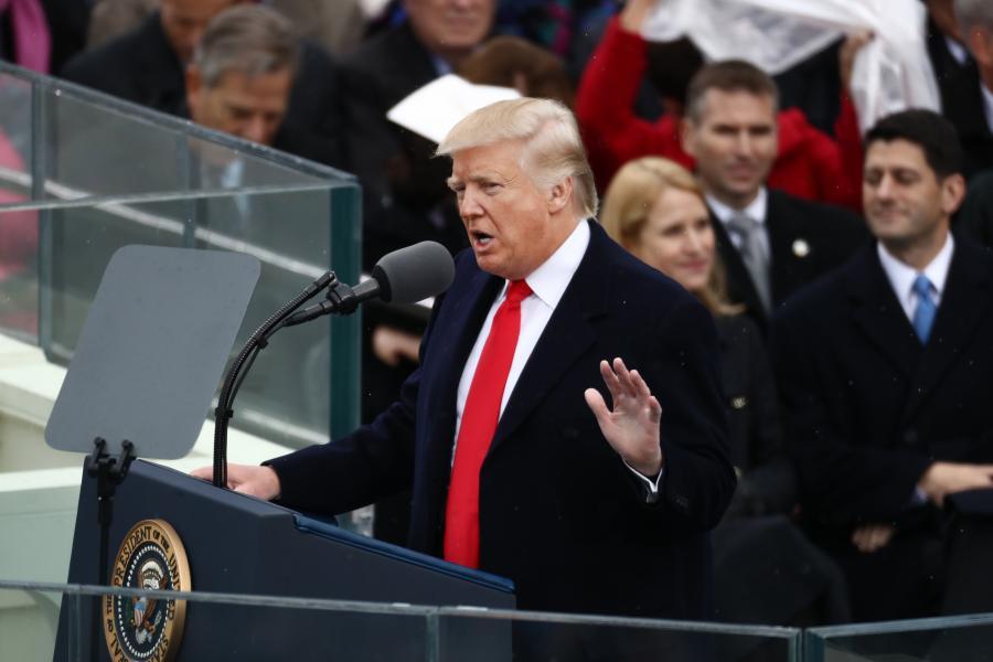 Donald Trump w czasie uroczystości zaprzysiężenia na 45. prezydenta USA, Waszyngton, 20.01.2017