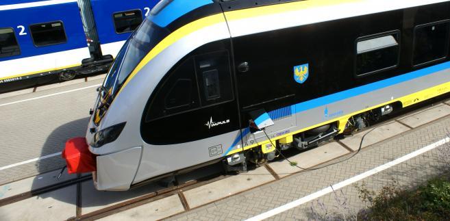 Pociąg Impuls dla Opolszczyzny podczas targów Innotrans w Berlinie w 2016 r.