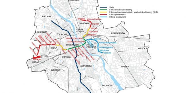 Schemat warszawskiego metra, źródło: Metro Warszawskie