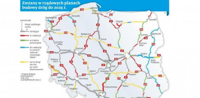 Zmiany w rządowych planach budowy dróg do 2025 r.