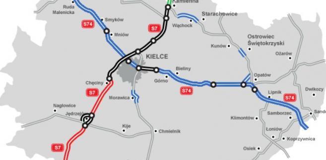 Przebieg planowanych i istniejących tras ekspresowych w woj. świętokrzyskim. Źródło: GDDKiA