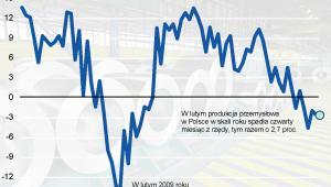 Produkcja przemysłowa w Polsce od lutego 2007 do lutego 2013 roku
