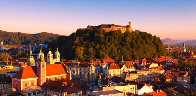 Panorama Lublany o zmierzchu