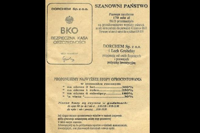 Bezpieczna Kasa Oszczędności - reklama z Expressu Wieczornego z grudnia 1989 roku. Zdjęcie: Foma, CC-BY-SA-3.0-2.5-2.0-1.0