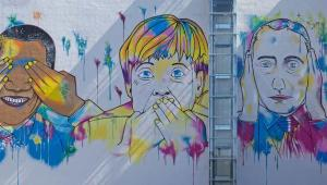Merkel, Obama i Putin na graffiti, Fot. hanohiki