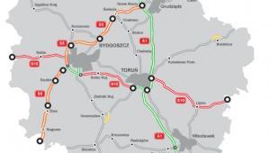 Stan budowy dróg w woj. kujawsko-pomorskim. Na pomarańczowo zaznaczono przebieg trasy S5. Źródło: GDDKiA