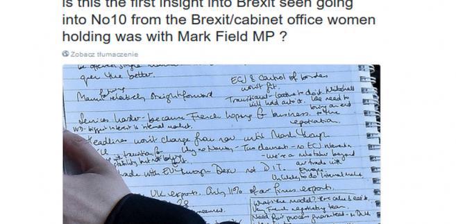 Odręczna notatka doradczyni jednego z konserwatywnych posłów, ujawniająca plany resortu ds. wyjścia z UE. Źródło: Twitter