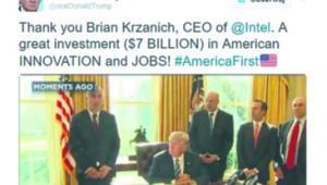 """""""Dziękuję Brianowi Krzanichowi, prezesowi Intela. Wielka inwestycja (7 miliardów dol.) w amerykańskie INNOWACJE i MIEJSCA PRACY! #AmerykaNajważniejsza"""""""