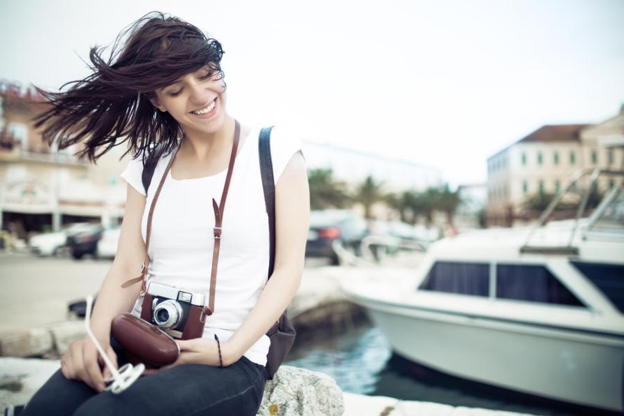 kobieta, wakacje, turystyka