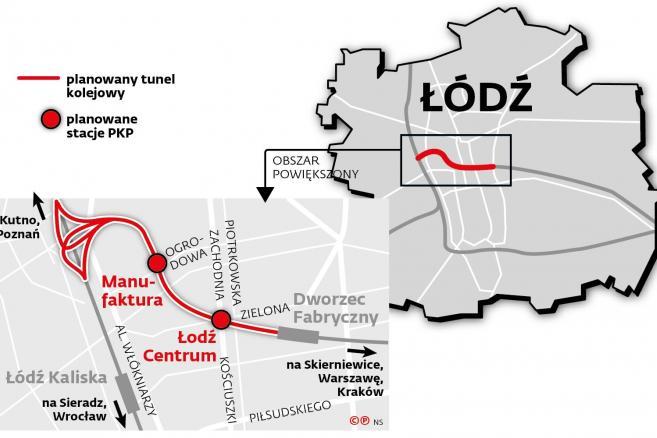 Planowany tunel kolejowy w Łodzi