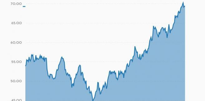 Dynamika cen ropy (Brent) w ciągu ostatniego roku (w dol.)