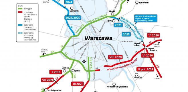 Obwodnica Warszawy - trasy wylotowe