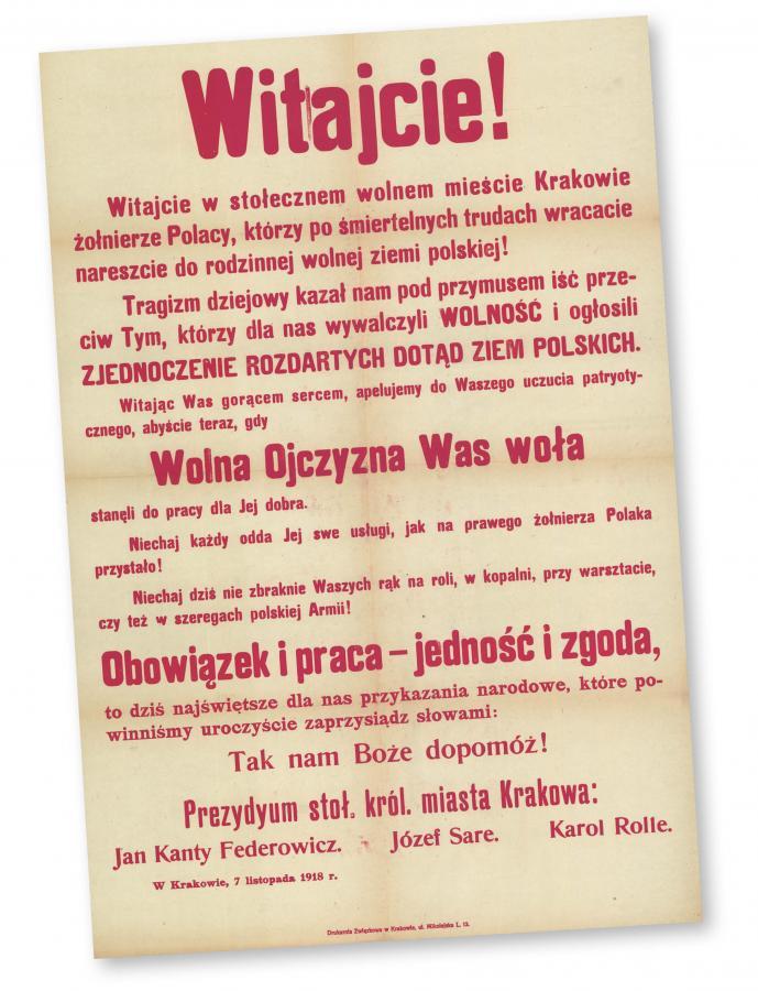 Afisz z Krakowa, 7 listopada 1918 r.