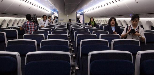 Kabina pasażerska Dreamlinera, najnowszego samolotu Boeinga, modelu 787